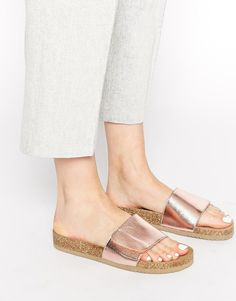 Image 1 of Selected Lenna Copper Footbed Slider Flat Sandals