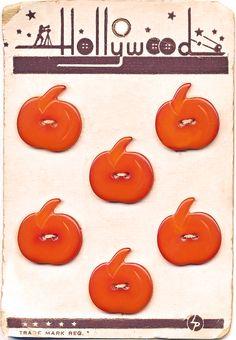 Vintage Bakelite Pumpkin Buttons on original card.