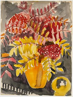 Sarah Robertson (Canadian, 1891 - Still life with yellow vase (via National Gallery of Canada) Yellow Vase, Drawing Artist, Watercolor And Ink, Flower Art, Still Life, Modern Art, Drawings, Artwork, Prints