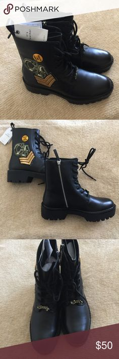 NWT ZARA LEATHER BLACK MILITARY BOOTS Brand new with tags! Real cow leather. Sold out! Original price $159 Zara Shoes Combat & Moto Boots