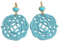 """Kenneth Jay Lane Carved Round Oriental Blue Drop Earrings 8860ETT. Leverback earrings featuring beads with large carved pendant dangle. Earrings are approx. 3"""" tall (measured from top of earring wire to bottom of dangle) and 2"""" wide. These are large statement earrings, so please pay close attention to measurements. Comes with a Kenneth Jay Lane jewelry pouch. Image is often enlarged to show detail - please refer to product dimensions for actual size. Being a handmade product, any color..."""