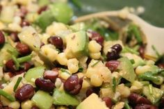 Packed with protein, this super salad is quick, easy and delicious -- not to mention low fat! Consider adding avocado (seen above) for a little bit of Southwest flavor and extra creaminess. Honey-Balsamic Bean Salad Serves 8 oz / 225 g (abou Bean Recipes, Salad Recipes, Rice Recipes, Recipies, Nebraska, Quinoa Soufflé, Dry Beans Recipe, Avocado Rice, Recipes