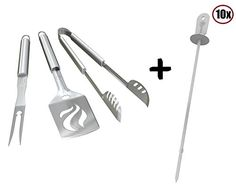 Kabob Skewers  BBQ Grill Tools Set  HEAVY DUTY 20 THICKER STAINLESS STEEL  Professional Barbecue Accessories  3 Piece Utensils Kit with Spatula Tongs  Fork  Unique Birthday Gift Idea For Dad >>> Learn more by visiting the image link.
