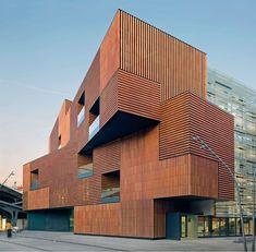 Art and Design centre in Barcelona by Estudio Carme Pinós ARCHatlas Architecture Metal, Architecture Tumblr, Contemporary Architecture, Minimal Architecture, Facade Design, Exterior Design, Bungalow Haus Design, Eckhaus, Brick Facade