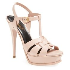 """Saint Laurent 'Tribute' Sandal, 5 1/2"""" heel ($925) ❤ liked on Polyvore featuring shoes, sandals, blush, high heel sandals, genuine leather shoes, yves saint laurent sandals, leather platform sandals and leather sandals"""