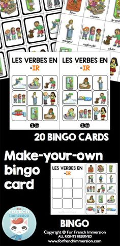 French IR Verbs Bingo! Included in a bundle of printable resources for French teachers.
