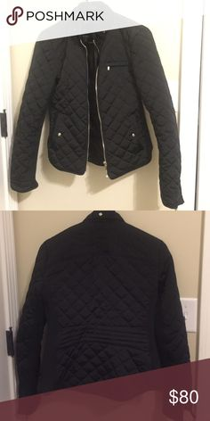 Zara black quilted jacket Zara black quilted jacket with gold zipper. Form fitting and lightweight! Zara Jackets & Coats