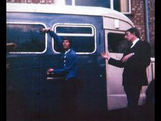 David Bowie & The Buzz keyboard player Derek Boyes, 1966. The group's touring vehicle was an old ambulance.