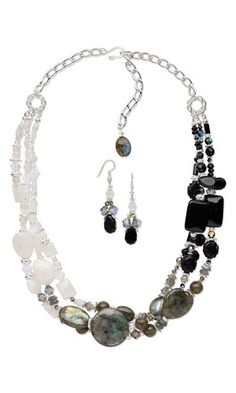 "Triple-Strand Necklace and Earring Set with Gemstone Beads, Swarovski Crystal Beads and Silver-Plated ""Pewter"" Beads - Fire Mountain Gems and Beads"