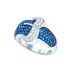 Roy Rose Jewelry 10K White Gold Womens Blue Colored Diamond Belt Buckle Cocktail Ring 1-3/8 Carat tw ~ Size 9.5 ** Click image to review more details. (This is an affiliate link and I receive a commission for the sales)