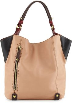 Oryany Aquarius Colorblock Shopper Tote Bag, Nude Multi
