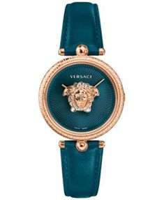 2ee835397 Versace Women's Swiss Palazzo Empire Teal Leather Strap Watch 34mm &  Reviews - Watches - Jewelry & Watches - Macy's