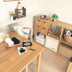 risako1107さんの、無印良品 収納,楽しい時間,こどもと暮らす。,IKEA,KLIPPAN,かぎ針編み,北欧,マンション暮らし,無印良品,北欧雑貨,マンション,スタッキングシェルフ,ハンドメイド,編み物,机,のお部屋写真
