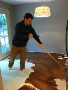 Roost Reimagined: DIY plywood flooring...cheap alternative to hardwood flooring.