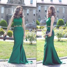Victorian Prom Dresses 2016 Emerald Green Two Piece Mermaid Evening Gowns Lace Crew Beaded And Satin Long Formal Party Dress Plus Size Prom Dresses With Sleeves Prom Dress Cheap