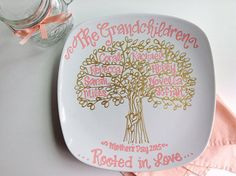 Mother's Day Grandmother Mom Family Tree Coral and Gold Grandchildren Personalized Custom Name Grandparents Grandma Nana Plate