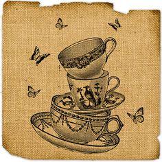 Digital Tea cup Download image Alice in wonderland Collage sheet Graphic art ephemera Printable For gift tag label napkin burlap pillow n807