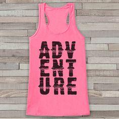 Adventure Tank - Pink Adventure Top - Camping Tank Top - Wilderness Tank Top - Womens Shirt - Outdoors Outfit - Hiking Shirt