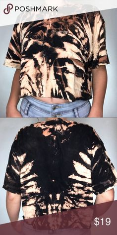 Bleached Grunge Crop Top Bleached Grunge Tie Dye T-Shirt Crop Top!  Originally a Gildan XL shirt. Fits most depending on how oversized you would like it to be. I will give specific dimensions upon request. One of a kind item so get it while you can! Once it's gone, it's gone! This has a raw edge, so be gentle when washing!  Feel free to ask me any questions.  No Trades! Gildan Tops Crop Tops