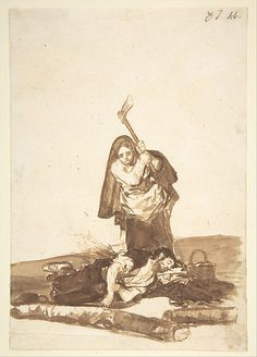 *A Woman Murdering a Sleeping Man, from Images of Spain Album (F), 87* Goya (Francisco de Goya y Lucientes)  (Spanish, Fuendetodos 1746–1828 Bordeaux)