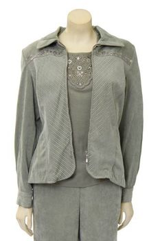 Solid Corduroy Spliced Jacket in Sage by Alfred Dunner Petites Alfred Dunner. $37.49