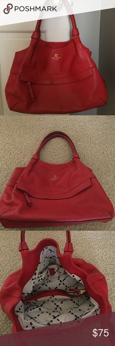 "Kate Spade handbag Red, Kate Spade tote handbag. Gently used, the inside has been cleaned out but there are a few stains as it has been used before. 13 "" L x 6"" W x 9"" H kate spade Bags Totes"