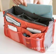 Coral Multi Pockets Organizer Purse Dual Storage Bag in Bag for Handbag Backpack Large Purses, Purses And Bags, Organizer Auto, Organizers, Bag In Bag, Tote Bag, Multi Usage, Diy Sac, Ipad
