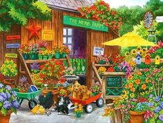 Solve Jardinerie jigsaw puzzle online with 221 pieces Puzzle Shop, Puzzle Art, Herb Farm, Farm Art, The Flash, Cat Love, Cross Stitch Embroidery, Jigsaw Puzzles, Images