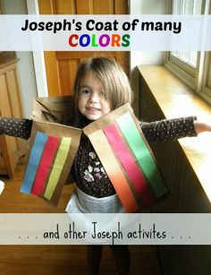 Adventures in La La Land: Week Joseph's Coat of Many Colors and other Joseph crafts and activities. Bible Crafts For Kids, Preschool Bible, Preschool Lessons, Sunday School Activities, Sunday School Lessons, Sunday School Crafts, Joseph Activities, Bible Activities, Joseph Crafts
