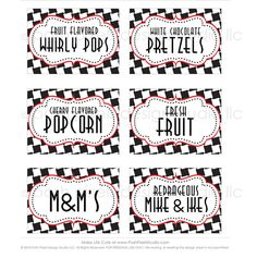 RACE CAR - Printable Designer Party Labels - Black, White, Red and Checkered…