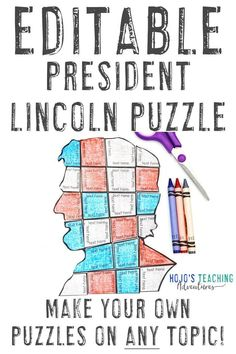 Create your own Presidents Day activities with this great President Lincoln EDITABLE puzzle. Use it for math, literacy, vocabulary, or any concept that fits within the text boxes. Great for use with your 1st, 2nd, 3rd, 4th, 5th, 6th, 7th, or 8th grade classroom or homeschool students. Plus there's a FREE download to test out. Great for elementary or middle school. Grab it today! (Year 1, 2, 3, 4, 5, 6, 7, President's Day, Presidents' Day) #HoJoTeaches #PresidentsDay 5th Grade Classroom, Middle School Classroom, Teaching Math, Math Literacy, Teaching Ideas, Map Skills, Halloween Math, Text For Her, Presidents Day