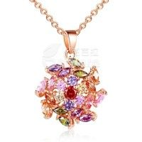 Barbara丨AAA Colorized Cubic Zircon Crystal 18K Gold Plated Round Pendants Necklaces