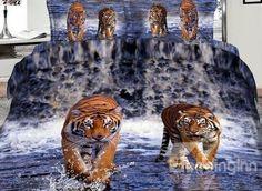 Imperial Lifelike Tiger 3D Printed 4-Piece Cotton Duvet Cover Sets