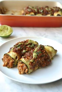 Zucchini Wrapped Chicken Enchiladas, healthy and low carb alternative to traditional enchiladas. Delicious saucy shredded chicken wrapped in zucchini strips (Paleo, Gluten Free. Gluten Free Recipes, Low Carb Recipes, Cooking Recipes, Healthy Recipes, Dairy Free Zucchini Recipes, Gluten Free Wraps, Cooking Kale, Simple Recipes, Healthy Dinners