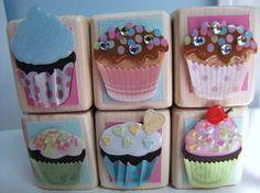 Cupcake Baby Shower Decor Wood Blocks  SPRING EASTER by MiaBooo, $24.00
