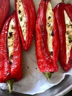 Greek Desserts, Greek Recipes, Starters, Sausage, Bacon, Food And Drink, Appetizers, Yummy Food, Stuffed Peppers