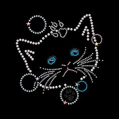 Crystal Heat Transfer Cute Cat Rhinestone Hot fix Applique