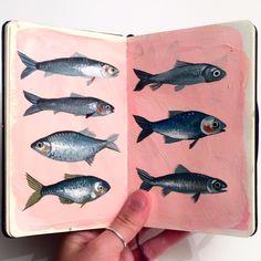 "323 Likes, 7 Comments - Georgina Taylor (@__jorj__) on Instagram: ""#painting #gouache #moleskine #fish #shad #herring #bitterling #illustration #sketchbook #acrylic"""
