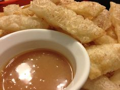 Fried Flour Tortilla Strips Tossed in Cinnamon and Sugar w/Caramel Dipping Sauce. Fried Tortillas, Flour Tortillas, Crockpot Recipes, Healthy Recipes, Tossed, Chocolate Fondue, Spreads, Dressings, Tat