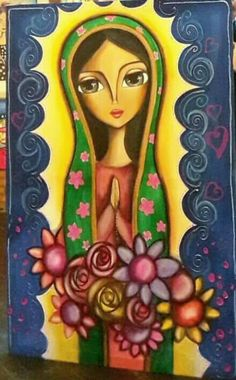 VIRGEN DE GUADALUPE Mexican Paintings, Colorful Paintings, Beautiful Paintings, Mini Canvas Art, Canvas Wall Art, Jesus And Mary Pictures, Virgin Mary Art, Jesus Art, Angel Art