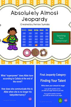 This game is a perfect way to review concepts and ideas from Absolutely Almost by Lisa Graff. Jeopardy categories are Characters, School, Setting, Almost, and Plot. Divide your class into teams or challenge your class to play other classes.