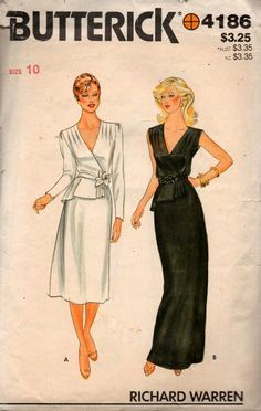 Butterick 4186 RICHARD WARREN Womens Wrap Dress or Maxi with Peplum 80s Vintage Sewing Pattern Size 10 Bust 321/2 Inches Vintage Dress Patterns, Clothing Patterns, Vintage Dresses, Vintage Outfits, Vintage Fashion, Retro Pattern, Simple Dresses, Motel Miami, Wrap Dress