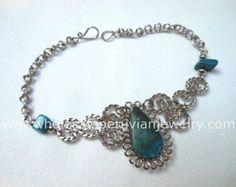 Check out Green Turquoise Teardrop Alpaca Silver Curls Bracelet Peruvian Jewelry - Handmade in Peru on handmadeperujewelry