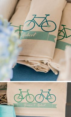 Tea towel favors // maybe not a tea towel! But we could transfer bicycle images onto something!