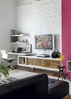#living #room, #brick #walls #brick #decor