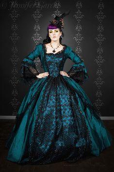 Peacock Black Fantasy Marie Antoinette masquerade gown - custom - $895