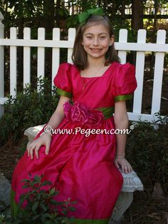 FLOWER GIRL DRESSES in Raspberry and Grass Green Silk