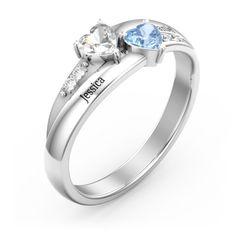 e2c3625a1 Sterling Silver Double Heart Gemstone Ring with Accents | Jewlr Gemstones, Sterling  Silver, Diamond