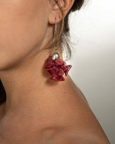Burgundy colored unique statement chunky earrings, Dark red fabric long dangle flower earrings, Unique textile jewelry for women.