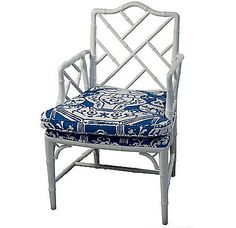 Blue & white Chinese Chippendale chair.